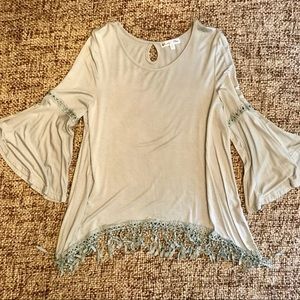 Pastel Blue Fringed Boutique Top